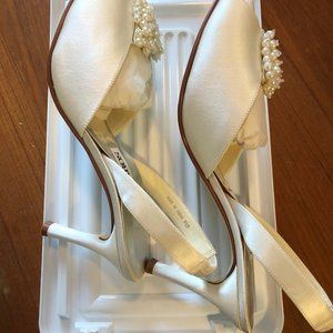 """Caparros Shoes - Wedding Shoes Ivory Satin  with Pearls 3"""" Heels"""